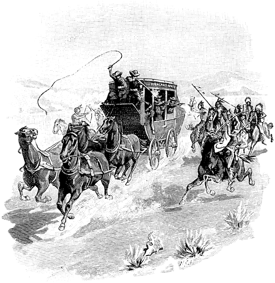 Indians attacking a Stage-Coach in the Far West Forty Years ago, before the First Pacific Railroad was built.